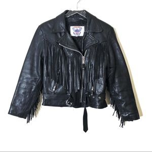 Vintage Vanguard Fringe Leather Moto Jacket